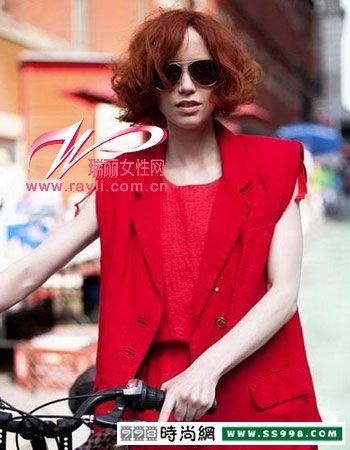 推荐街拍时尚红色头发发型图片图片